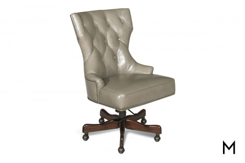 Primm Executive Chair in Gray Leather with Tufted Back