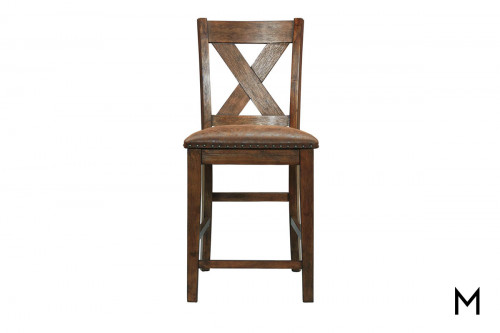 Chaleny X-Back Counter Stool with Nailhead Trim