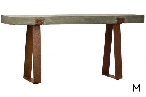 Industrial Concrete Top Console Table