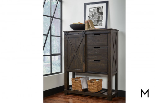 Sun Valley Large Barn Door Chest in Charcoal