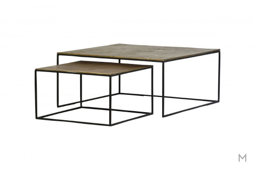 Lokka Two Piece Nesting Side Tables made with Cast Aluminum