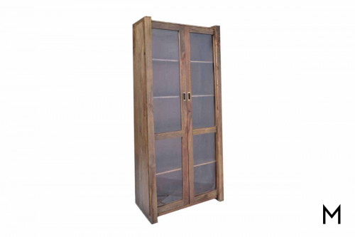 M Collection Steiner Tall Sliding Door Display Cabinet with Glass Doors
