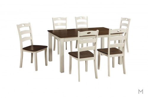 Woodanville 7 Piece Dining Room Set in White and Medium Brown