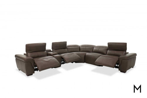 M Collection Montecarlo 6 Piece Power Headrest Sectional in Mushroom