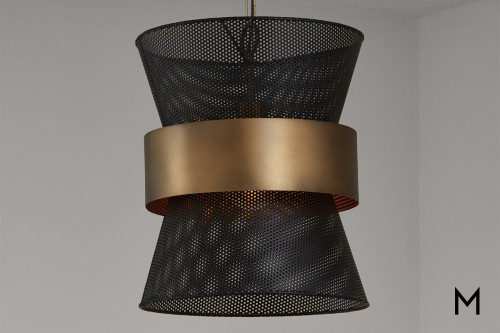 Black and Brass Pierced Pendant