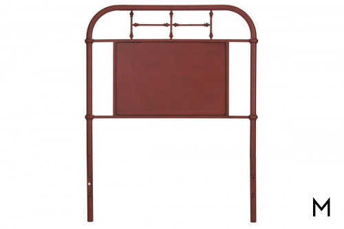 Vintage Metal Headboard - Youth Twin in Red