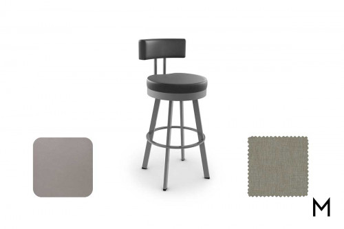 Barry Swivel Counter Stool in Titanium and Seaside