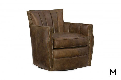 Carson Leather Swivel Club Chair featuring Nailhead Trim