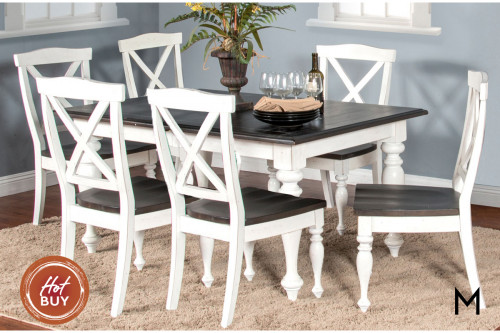Carriage House 7-Piece Dining Set with Crossback Chairs