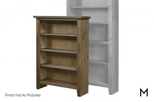 """Alder 48"""" Tall Bookcase with Tobacco Finish"""
