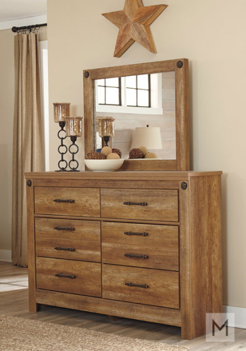 Ladimier Dresser Mirror in Golden Brown with a Rustic Finish
