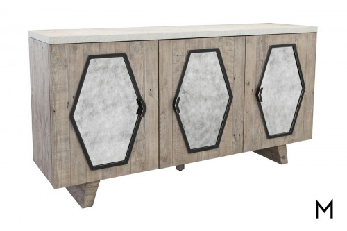 Geometric 3 Door Sideboard with Mirrored Insets