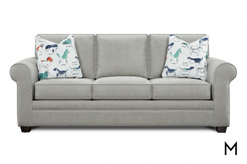 Popstitch Pebble Loveseat Sleeper with Two Puppy Pillows