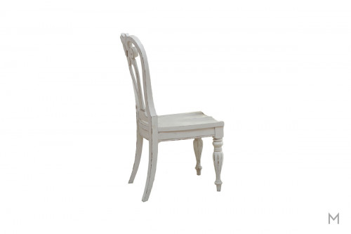 Magnolia Manor Dining Side Chair in White with Antique Finish