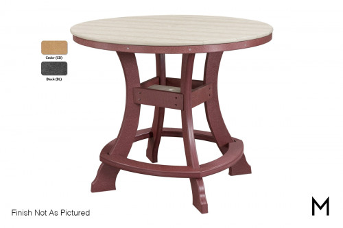 Round Outdoor Dining Table in Cedar and Black