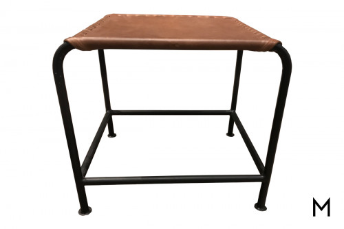 M Collection Bozeman Leather Top Accent Table