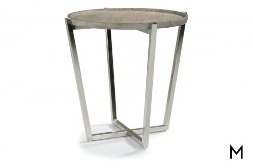 Platform Lamp Table with Weathered Gray Wood Finish