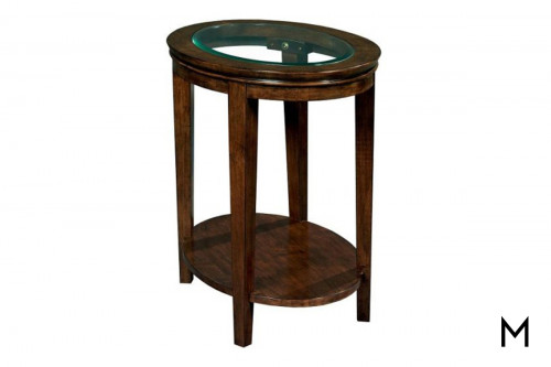 Oval Glass Top End Table