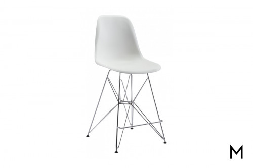 Zip Bucket Counter Chair in White