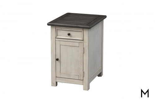 Two-Tone Chairside Cabinet with Drawer