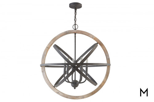 Iron and Wood 6 Light Pendant
