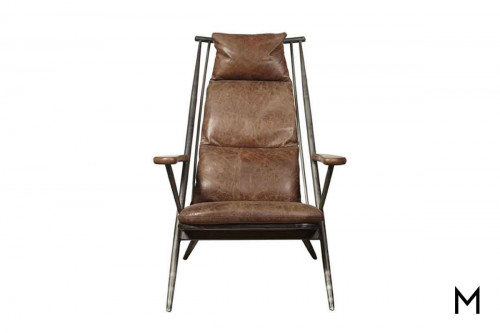 Karl Accent Chair featuring Leather Seat and Back with Metal Frame