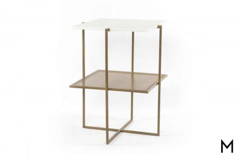 Olivia End Table with Antique Brass-Finished Iron and Marble