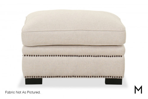 M Collection Contemporary Ottoman with Nailhead Trim