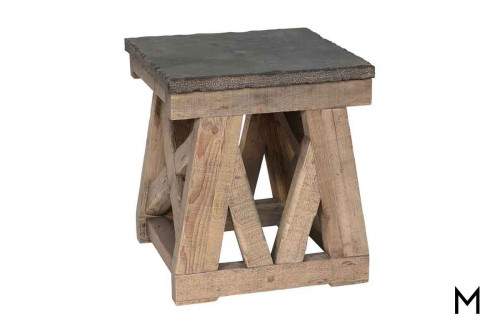 Marbella Rectangular Coffee Table featuring Stone Top and Reclaimed Wood Base