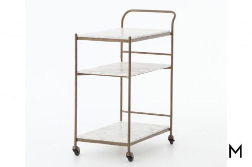 Rectangular Bar Cart with Marble Shelves