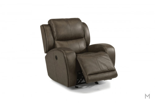 Chaz Leather Power Gliding Recliner in Brown Leather