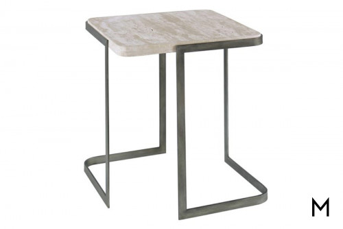 Deaton End Table with Travertine Top