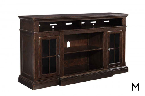 Roddinton TV Stand with Open Storage and Glass Doors