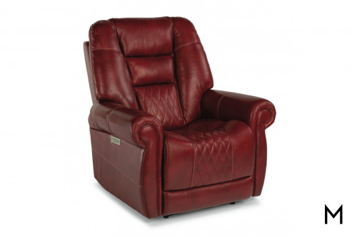 Leather Power Recliner with Power Headrest and Lumbar Support
