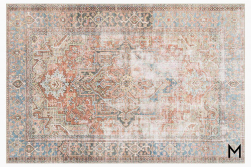 Loren Area Rug 7'x9' in Terracotta and Sky