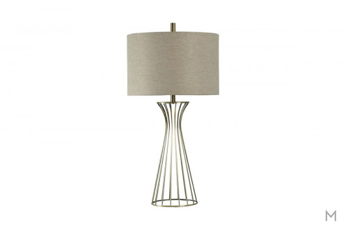 Formed Metal Table Lamp in Fabric Drum Shade