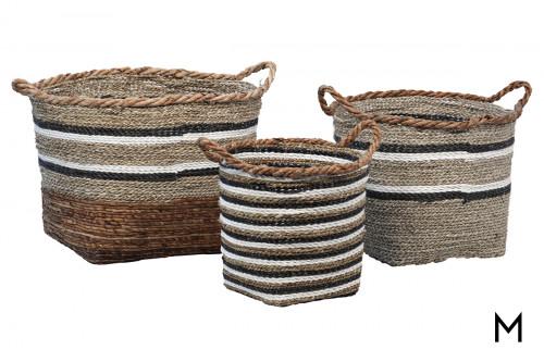 Natural Grass Basket Set of Three