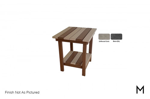 Outdoor End Table in Driftwood and Black