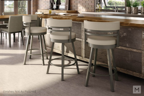Ronny Swivel Counter Stool in Mineral Gray and Multi Gray