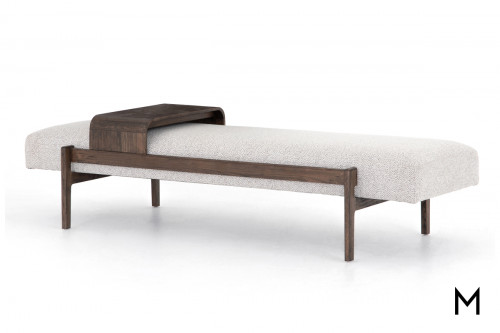 Cushioned Accent Bench with Sliding Tray