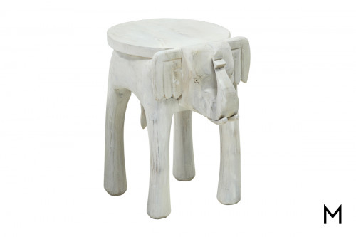 M Collection Large Carved Elephant Stool