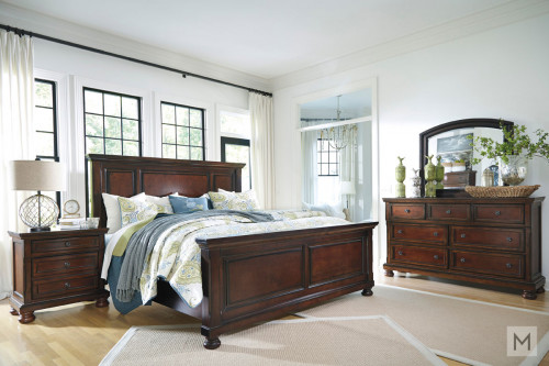Porter Queen Panel Bed in Rustic Brown Cherry