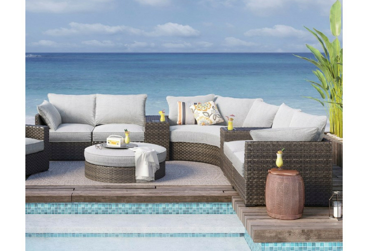 Gray Outdoor Basket Sectional