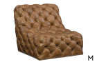 Rigby Swivel Chair in Brown Leather with Tufted Buttons Color Thumbnail Brown