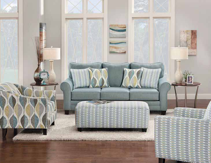 teal patterned sofa